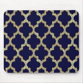 Marineblauw & Gouden Stammen Geometrisch Patroon Muismat
