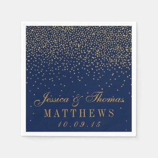 Marineblauw & Gouden van Confettien Glam Huwelijk Papieren Servet