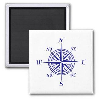 Marineblauw op Wit KustDecor nam het Kompas toe Magneet