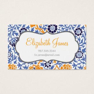 Marineblauw & Oranje Retro BloemenDamast Visitekaartjes