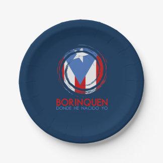 Marineblauw Puerto Rico Borinquen Papieren Bordje