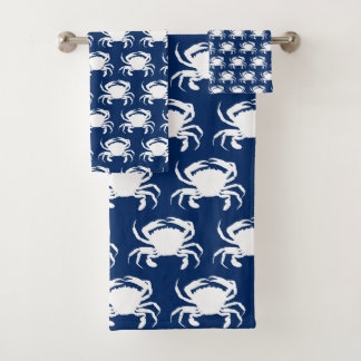 Marineblauwe en Witte Krabben Bad Handdoek