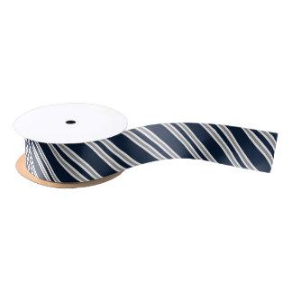 Marineblauwe en Zilveren Diagonale Strepen Satijnen Lint