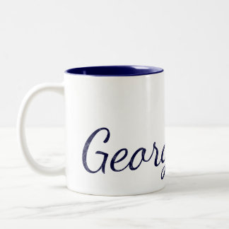 Marineblauwe Geweven Naam Met monogram Tweekleurige Koffiemok