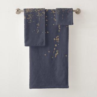 Marineblauwe Gouden Sparkly schittert Ombre Bad Handdoek