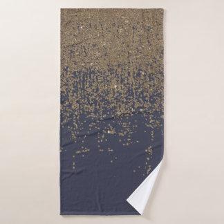 Marineblauwe Gouden Sparkly schittert Ombre Badhanddoek