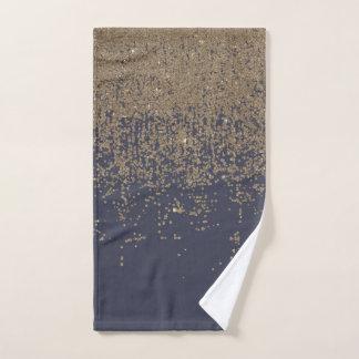 Marineblauwe Gouden Sparkly schittert Ombre Handdoek
