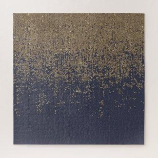 Marineblauwe Gouden Sparkly schittert Ombre Legpuzzel