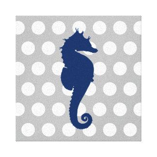Marineblauwe Grijze en Witte Stippen Seahorse Canvas Afdruk