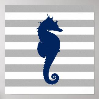 Marineblauwe Grijze en Witte Strepen Seahorse Poster