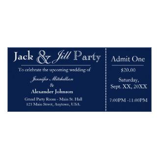 Marineblauwe Hefboom en Jill Shower Ticket Reclamekaart