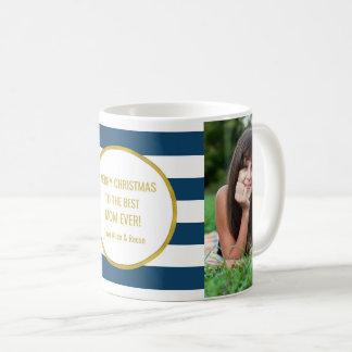 Marineblauwe Kerstmis van het Mamma van de Foto Koffiemok