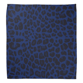 Marineblauwe luipaarddruk bandana