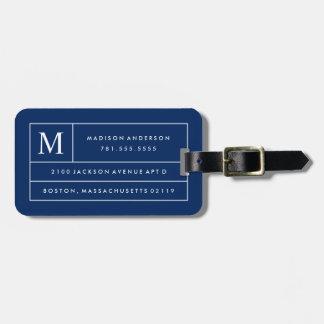 Marineblauwe Moderne Lijnen | Label van de Bagage Bagagelabel