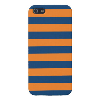 Marineblauwe & Oranje Trendy gepersonaliseerde iPhone 5 Case