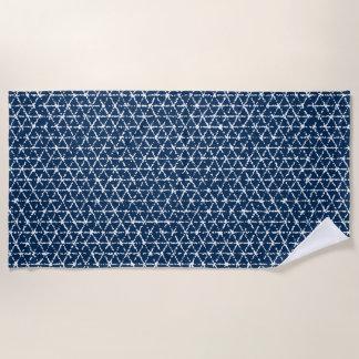 Marineblauwe Shibori Geometrische Tessellation Strandlaken