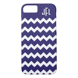 Marineblauwe & Witte iPhone Met monogram 7 cas van iPhone 7 Hoesje
