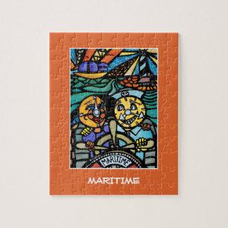 Maritiem - de Heldere Kleuren van de Stukken van Puzzel