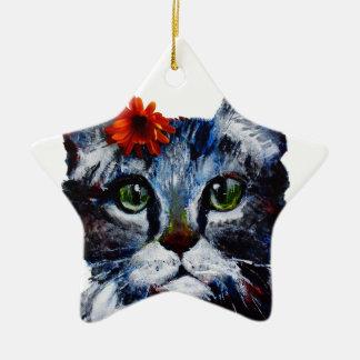 Marmelade, de leuke kat die een bloem draagt keramisch ster ornament
