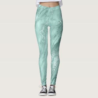 Marmeren Minimaal Abstract Blauwgroen Aquatisch Leggings