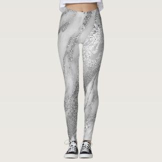 Marmeren Minimaal Abstract Metaal Zilveren Grijs Leggings