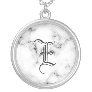 Marmeren monogram zilver vergulden ketting