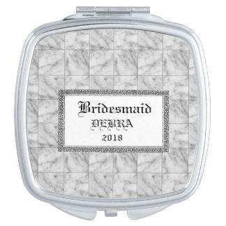 Marmeren-tegel-gunst-monogram-sjabloon-viering Make-up Spiegels