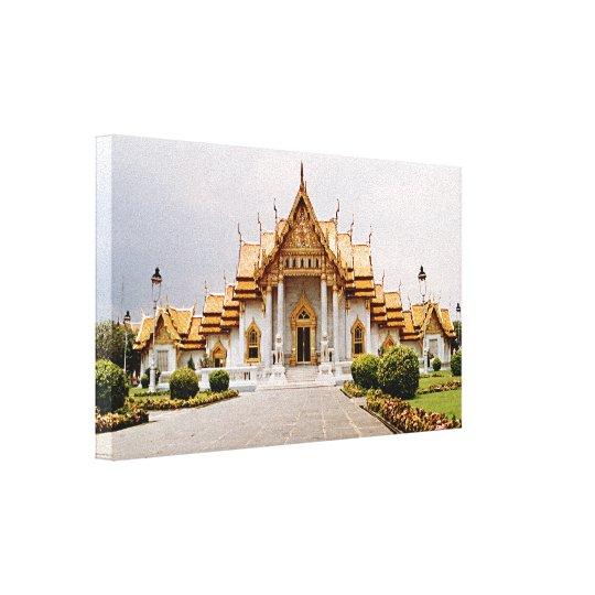 Marmeren Tempel van Goud over Khmer Leeuw Canvas Afdrukken