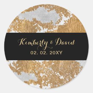 Marmeren Zwart en Gouden Huwelijk Ronde Sticker