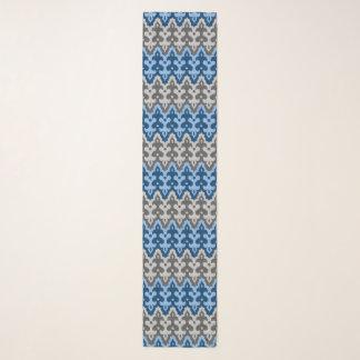 Marokkaans Damast Ikat, Blauw en Grijs/Grijs Sjaal