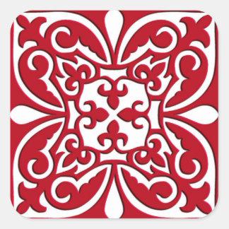 Marokkaanse donkerrood en witte tegel - vierkante sticker