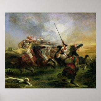 Marokkaanse ruiters in militaire actie, 1832 poster