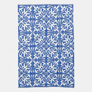 Marokkaanse tegel - kobaltblauw en wit theedoek