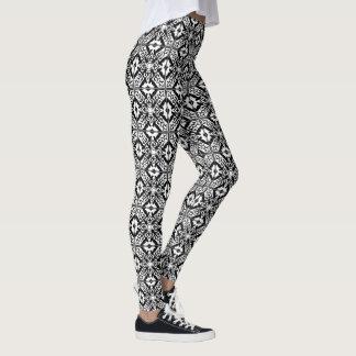 Marokkaanse tegel - zwarte met witte achtergrond leggings