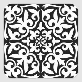 Marokkaanse tegel - zwarte met witte achtergrond vierkante sticker