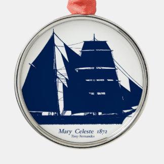Mary Celeste 1872 door tony fernandes Zilverkleurig Rond Ornament