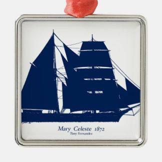 Mary Celeste 1872 door tony fernandes Zilverkleurig Vierkant Ornament