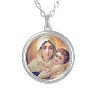 Mary en Jesus Zilver Vergulden Ketting