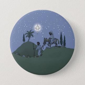 Mary en Joseph, de kaart van Kerstmis Ronde Button 7,6 Cm