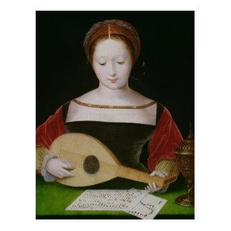 Mary Magdalene Playing een Luit Briefkaart