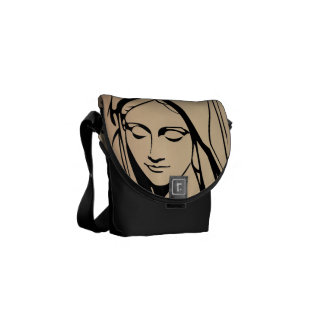 Mary Mother van Jesus Face Rickshaw Messenger Bag