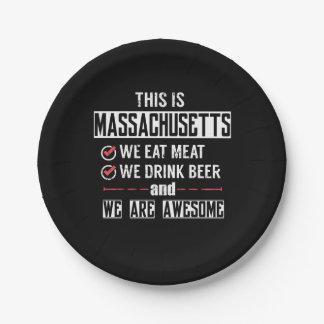 Massachusetts eet Vlees drink Geweldige Bier Papieren Bordje