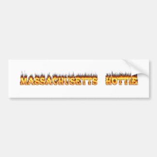 Massachusetts hottie brand en vlammen bumpersticker
