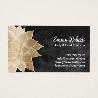 Massage Therapy Spa Gouden Bloemen Rustiek Bord Visitekaartjes