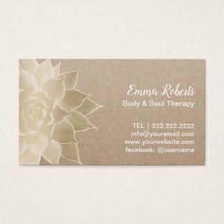 Massage Therapy Spa Gouden Bloemen Rustiek Visitekaartjes