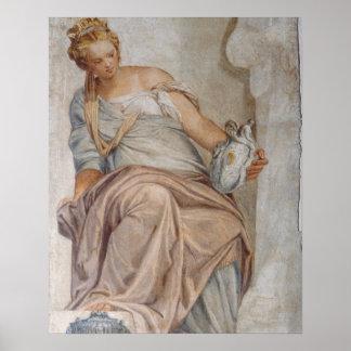 Matiging, van de muur van de sacristie (fresko) poster