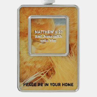 Matthew 8: 20 verzilverd omlijst ornament