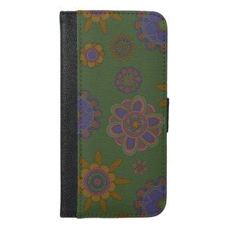 Mauve & Gouden Bloemen iPhone 6/6s Plus Portemonnee Hoesje