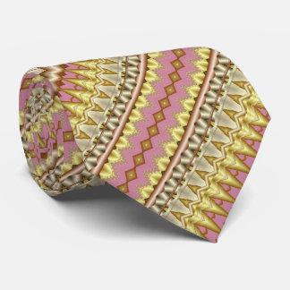 Mauve, Gouden en Diagonaal Fractal Taupe Patroon Eigen Stropdassen