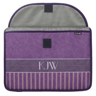 Mauve Strepen met het Monogram van de Lavendel en Beschermhoezen Voor MacBooks